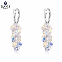 2 Colors Austrian Crystals From Swarovski 18K White Gold Plated Fashion Geometric Dangle Earrings For Women