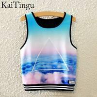 KaiTingu 2016 Brand New Fashion Women Sleeveless Sky Print Crop Top Cropped Tops Casual Sport Top