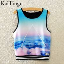 KaiTingu 2016 Brand New Fashion Women Sleeveless Sky Print Crop Top Cropped Tops Casual Top Fitness