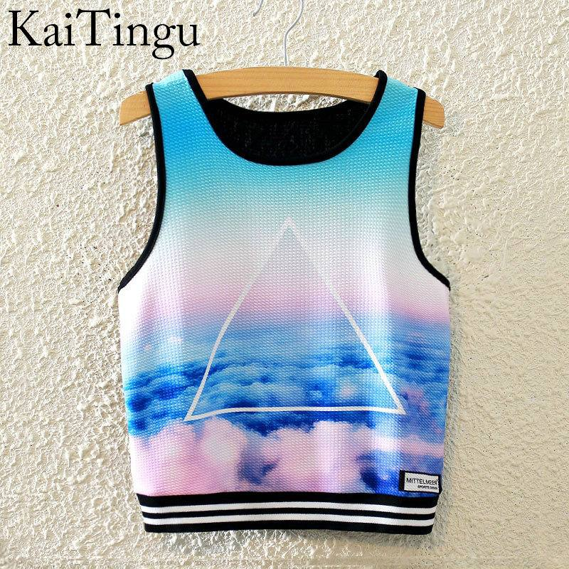 KaiTingu 2016 Brand New Fashion Women Sleeveless Sky Print Crop Top Cropped Tops Casual Top font