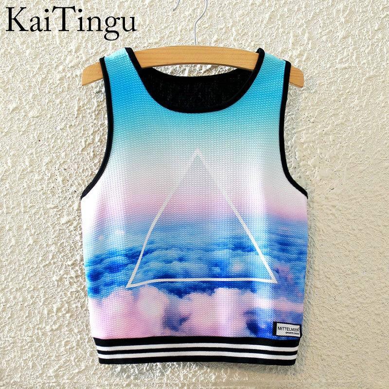KaiTingu 2016 Brand New Fashion Women Sleeveless Sky Print Crop Top Cropped Tops Casual Top font