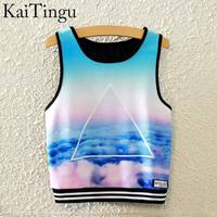 KaiTingu 2016 Brand New Fashion Women Sleeveless Sky Print Crop Top Cropped Tops Casual Sport Top