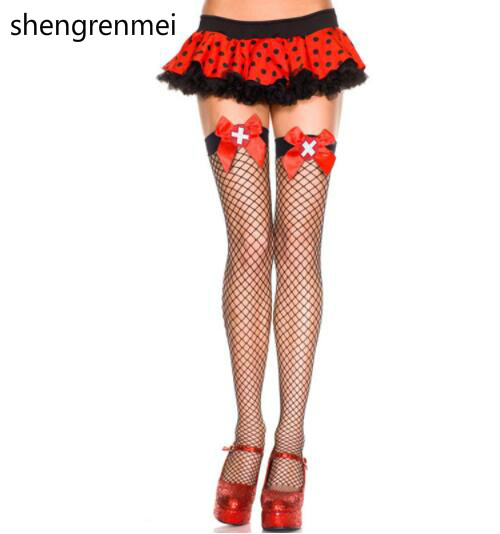 Shengrenmei 2019 Red Cross Small Mesh Sexy Stockings Nurse Thigh High Stocking Women Girl Cosplay White Lingerie Nylon Stockings
