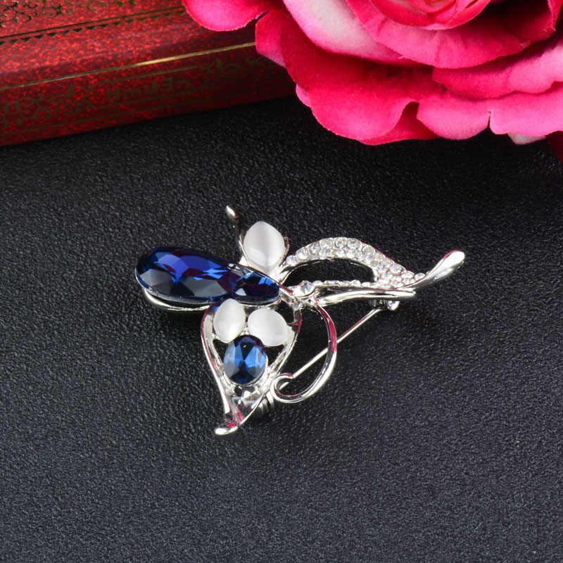 Sinleery Unik Blue Cubic Zirconia Hollow Butterfly Bros dan Pin Wanita Opal Hewan Bros Perhiasan Aksesoris XZ022 SSK
