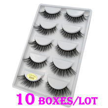 50 Pairs/Lot 100% Real Mink Fur Winged Short 3D False Eyelas