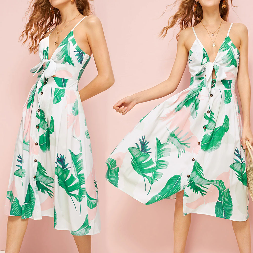 <font><b>2019</b></font> <font><b>Summer</b></font> <font><b>Fashion</b></font> <font><b>Women's</b></font> Casual Sleeveless <font><b>Sexy</b></font> Button Leaf Print <font><b>Elegant</b></font> Party Party <font><b>Dress</b></font> has arrived Female Vestidos image