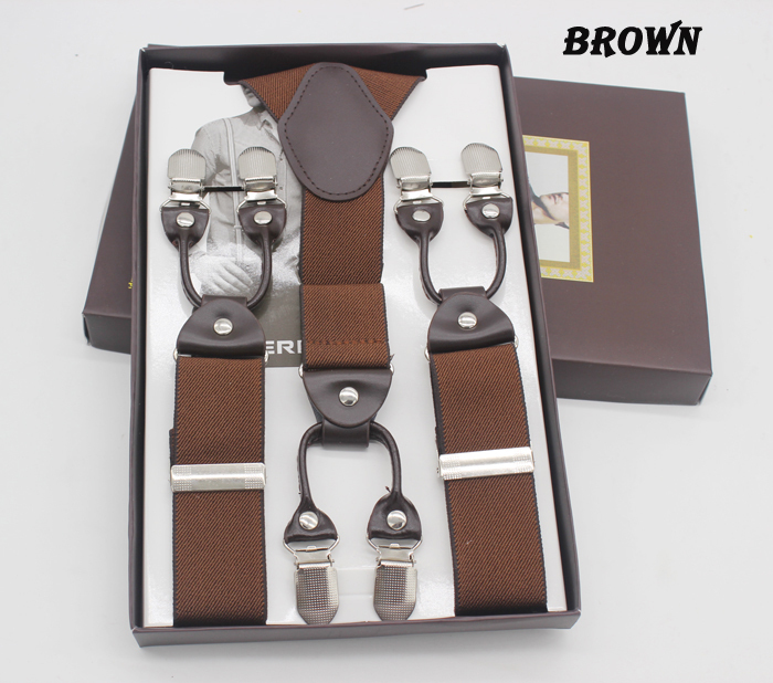 2016 new brown 6 Clips suspenders leather braces Adjustable man/woman suspenders Birthday Gift Wedding apparel accessories
