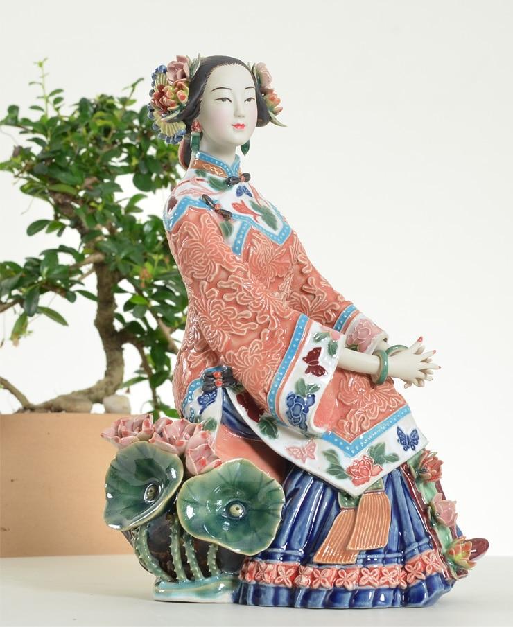 FST 4 стиль 23 18 см чисто ручной работы статуи скульптуры Керамические китайские Классические красивое украшение для дома