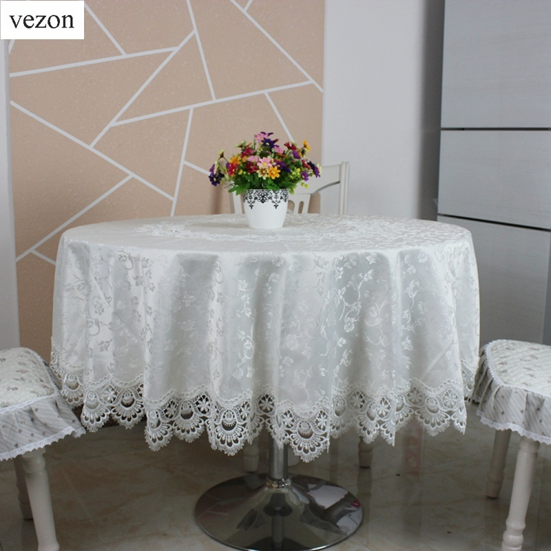 vezon hot sale round delicate jaquard polyester lace tablecloths for wedding party home table. Black Bedroom Furniture Sets. Home Design Ideas