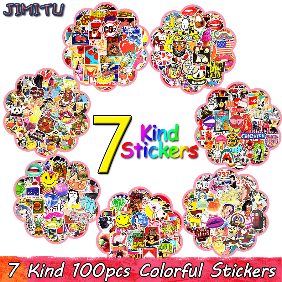 100 PCS Graffiti Sticker Anime Rock Retro Funny Stickers Gift for Kids Vinyl Decal DIY Laptop Guitar Luggage Skateboard Stickers