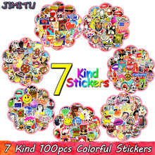 100 PCS Graffiti Autocollant Anime Rock Rétro Drôle Autocollants Cadeau pour Enfants Vinyle Decal DIY Ordinateur Portable Guitare Bagages Skateboard Autocollants