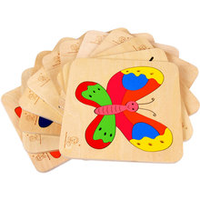 Childrens 3D Animal Dinosaur Beetles Butterfly Fish Wooden Puzzle Toy Kids Wood Cartoon single layer puzzles