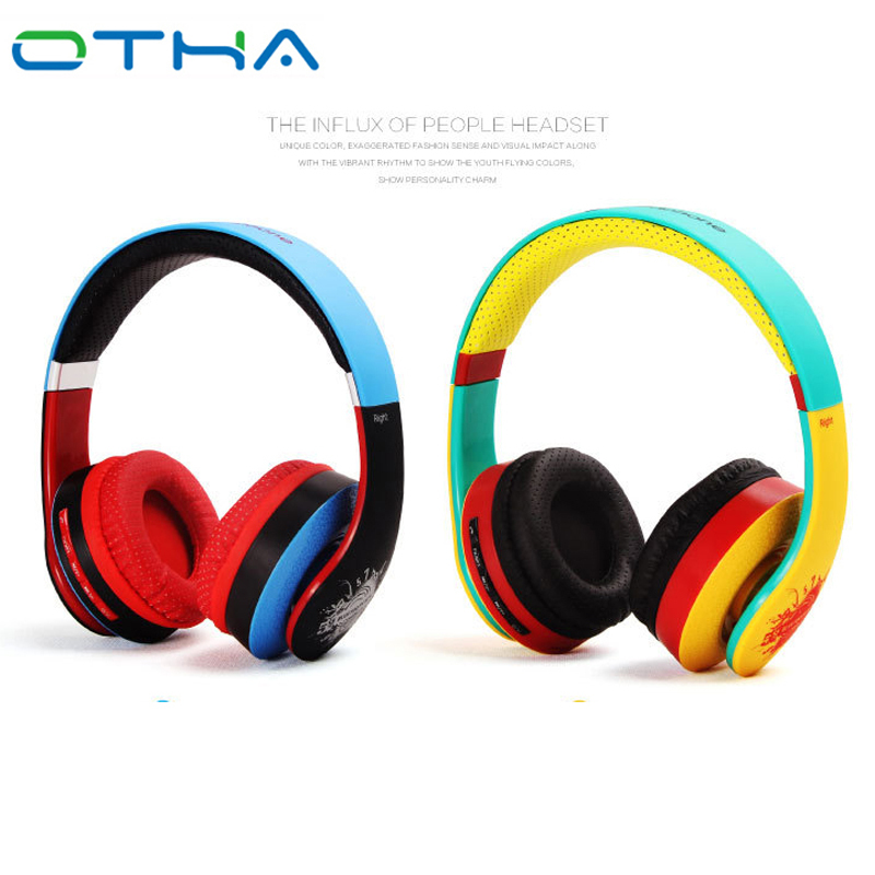 OTHA Blue Yellow Colorful Bluetooth Headphone With Mic Wireless+Wired Stereo Headphones Support TF Card FM Radio Bass Headset bluetooth headphone wireless sport stereo tf card fm radio mp3 player headset handsfree with microphone wired earphone headphons