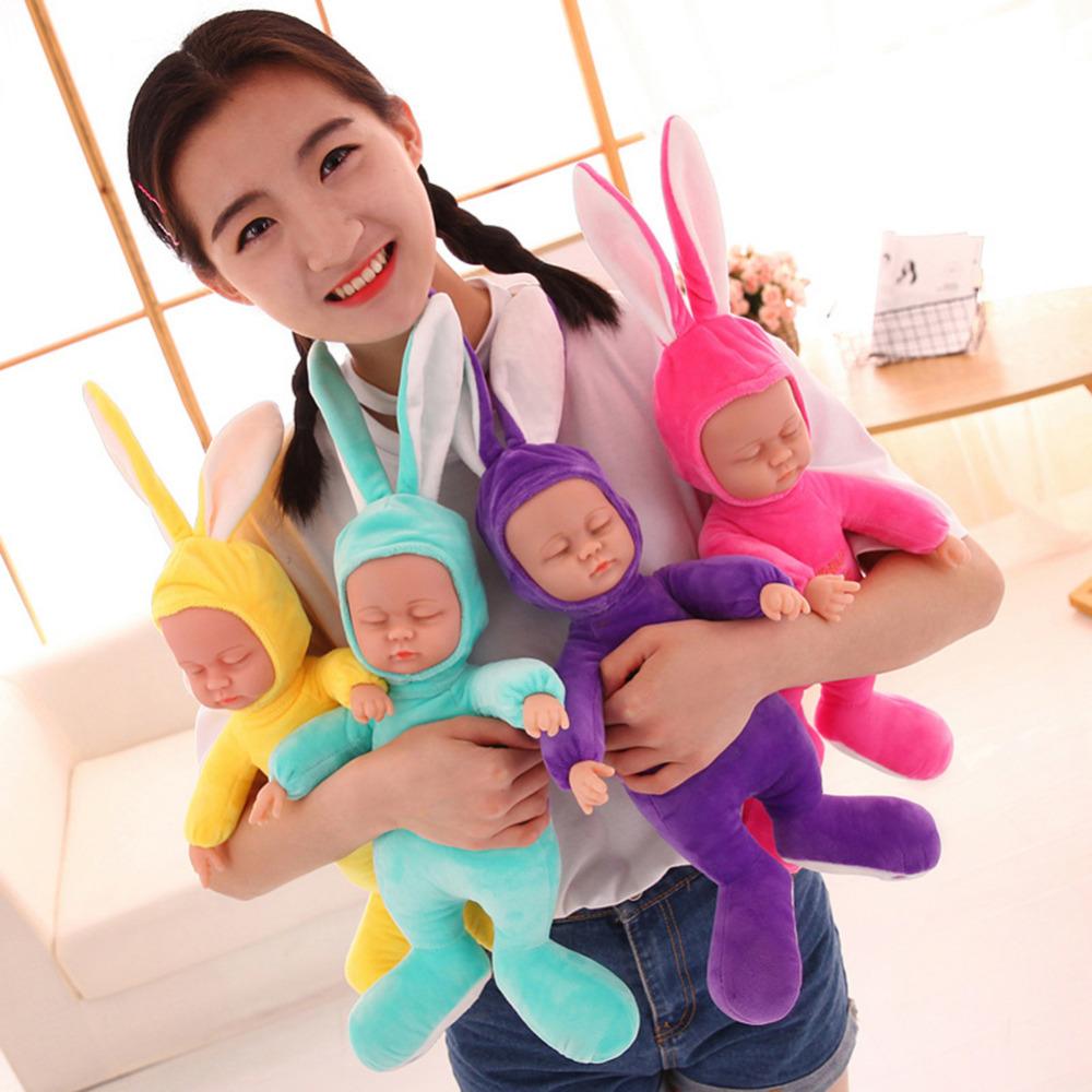 Cute Simulated Rabbit Plush Stuffed Baby Doll Babies Sleeping Dolls Children Toys Birthday Gift For Baby doll Comfort Toy rabbit plush keychain cute simulation rabbit animal fur doll plush toy kids birthday gift doll keychain bag decorations stuffed