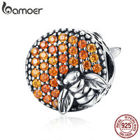 BAMOER Hot Sale 100 925 Sterling Silver Bee Honeycomb Home Crystal CZ Charm Beads Fit Charm