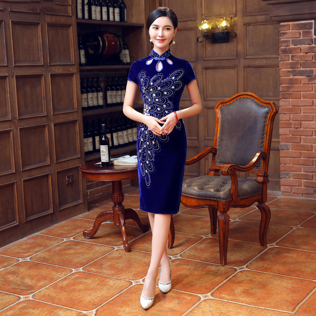 Vintage Cheongsam Blue Traditional Chinese Dress Qipao Vestido Oriental Style Dresses Velvet Wedding Gowns Robe Mariage