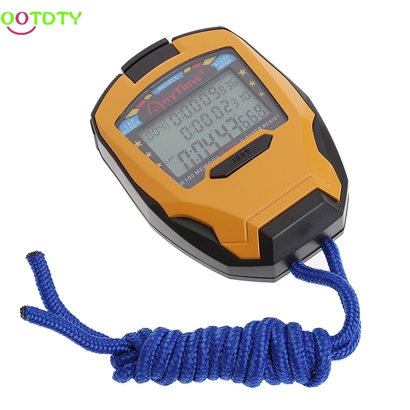 3 Row100 Lap 1/1000s Digital Sport Counter Timer Professional Athletic Stopwatch 1 set v2 plastic motorcycle lap timer outdoor motor racing track infrared ultrared tool device lap time 1 second interval time