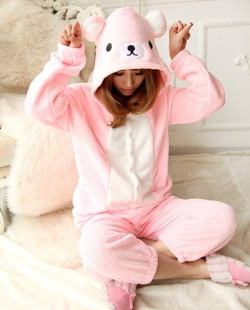10fd1a102636 NEW 2016 Adult Rilakkuma Costume Onesies Pink Relax Bear Cosplay Pajamas  Jumpsuit Animal Sleepwear One Piece Halloween Costume
