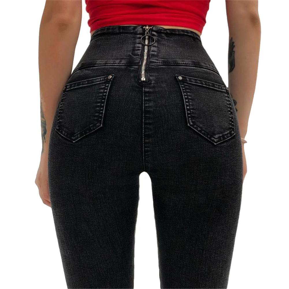 Women High Waist Skinny   Jeans   With Zipper in the Back New Vintage Push Up Black   Jeans   Femme Fitness Denim Pants Pencil Pants