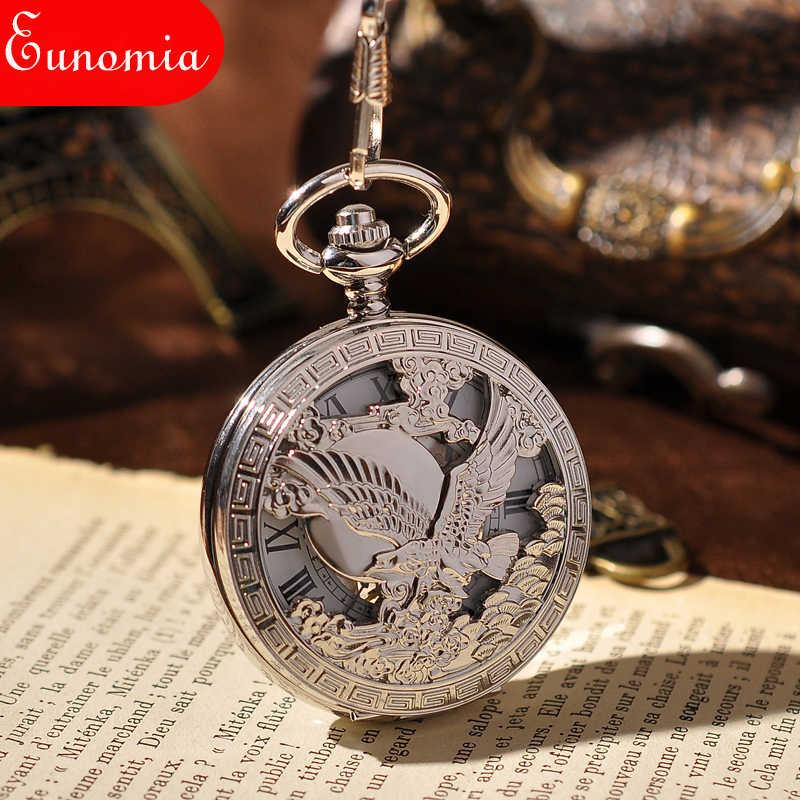 Bạc Người Đàn Ông MỸ Emblem Quân Đội Skeleton Đồng Hồ Steampunk Pocket Watch Thương Hiệu Sang Trọng Tay Gió Cơ Pocket Watch Đồng Hồ Cổ Điển