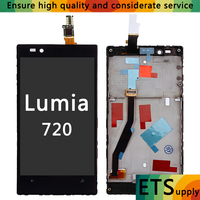 AAA Black For Nokia Lumia 720 LCD Touch Screen With Frame For Nokia Lumia 720 Display