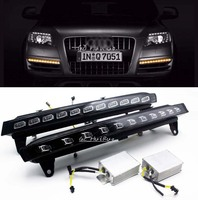 LED DRL Daytime Running Light For Audi Q7 2006 09 With Yellow Flicker Turn Signals