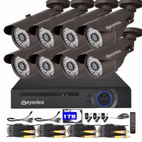 Eyedea 8 CH HDMI DVR 1080P Remote Phone View 2 0MP Bullet Outdoor 36 LED Night