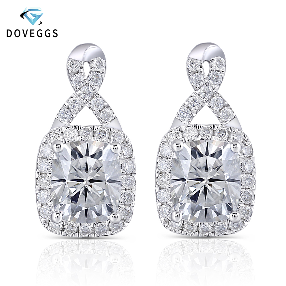 DovEggs Platinum Plated Silver Center 6 7mm HI Color Cushion Cut Moissanite Halo Drop Earrings for