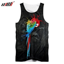 UJWI Men Vest Hot Bodybuilding Funny 3D Printed Parrot Black and red Hip Hop Plus Size Costume Male Summer Sleeveless Shirt
