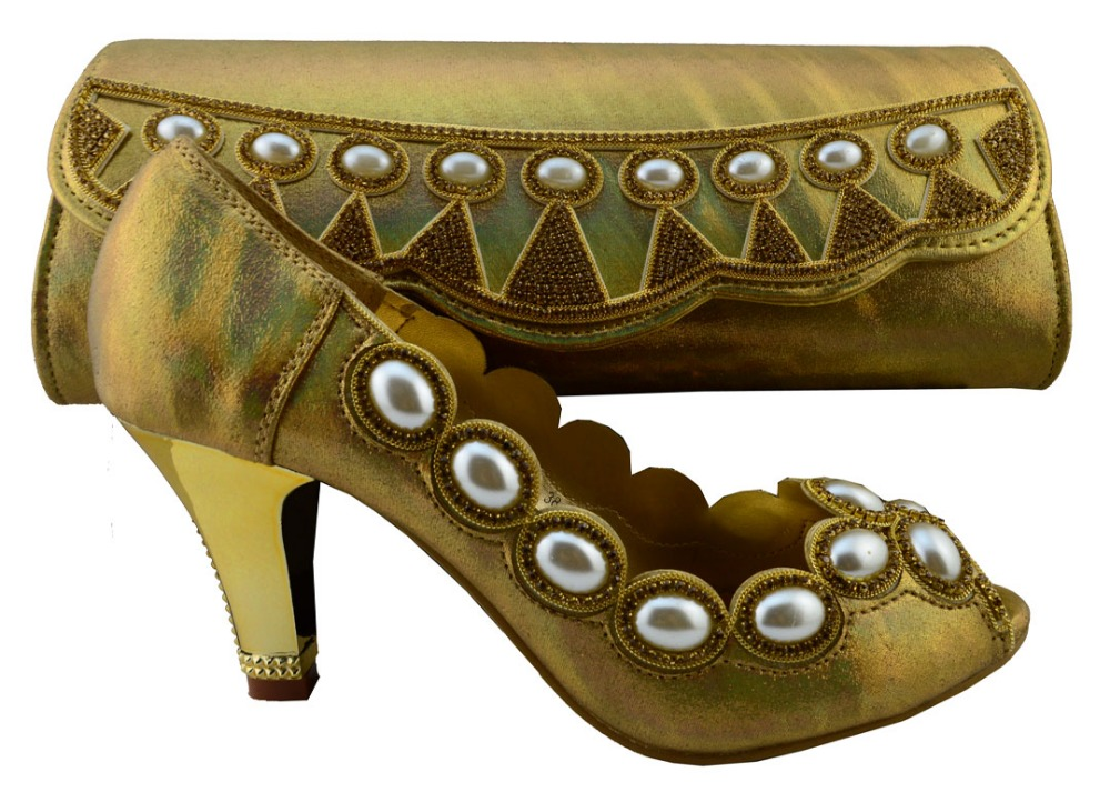 ФОТО Gold Color African Wedding Shoes and Bag Sets Shoe and Bag Set Women Pumps Decorated with Diamonds Italian Matching Shoe and Bag