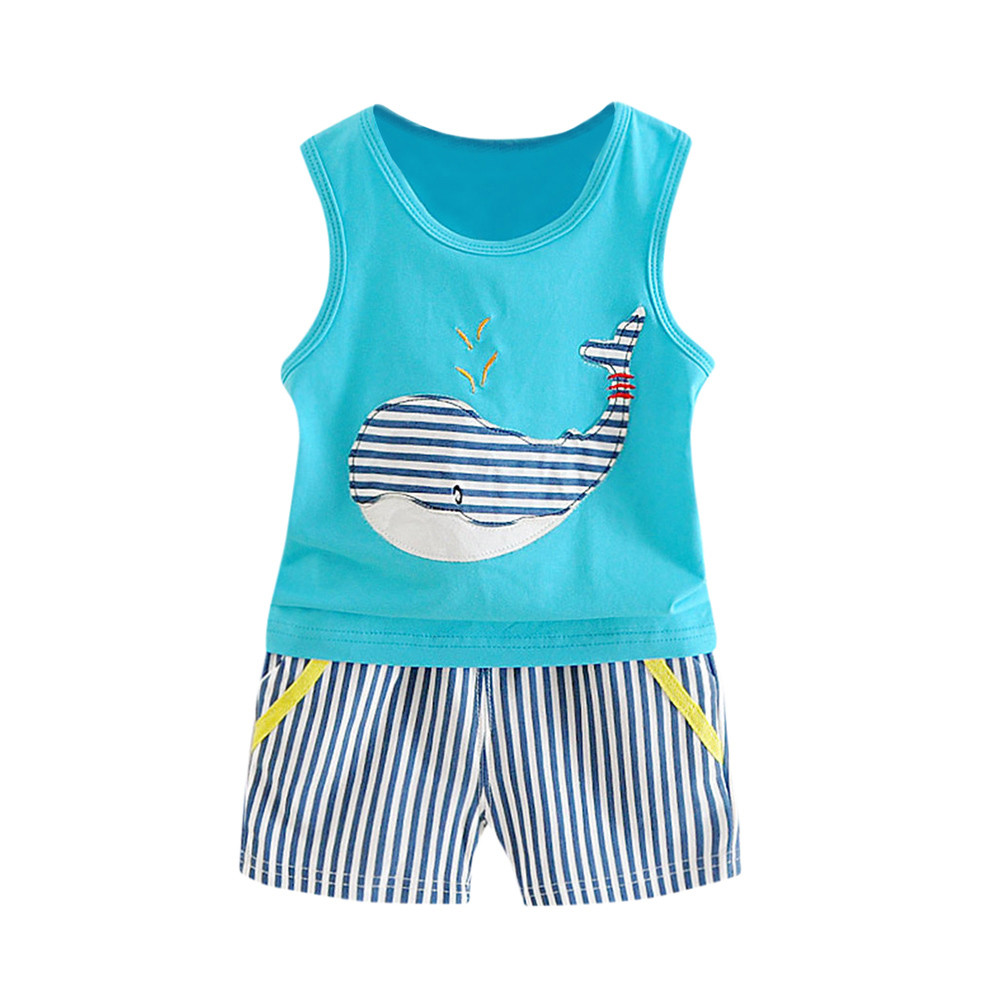 Toddler Baby Boys Tracksuits 2017 Summer Children Cartoon Sports Suits Kids Sleeveless Vest + shorts Clothes Outfit Age 0-24M