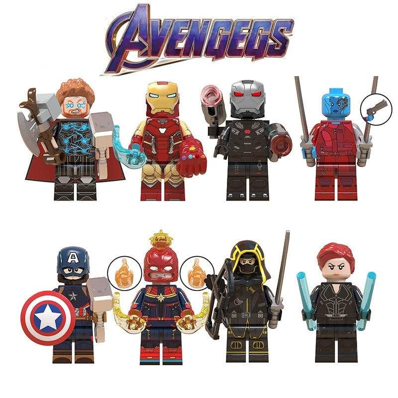 Legoed vingadores 4 final minifigurado thor homem de ferro marvel super heróis playmobil blocos de construção figuras crianças presente brinquedos