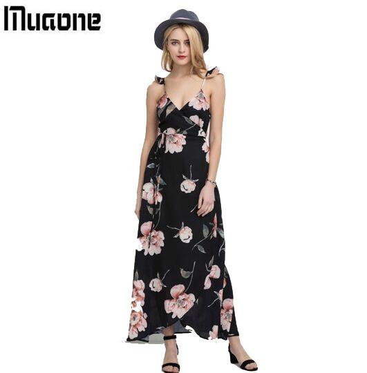 ac508d647 MUAONE Fashion Floral Print Dress Women Backless Split Maxi Dress Deep V-neck  Sexy Party Dress Casual Bohemian Dresses
