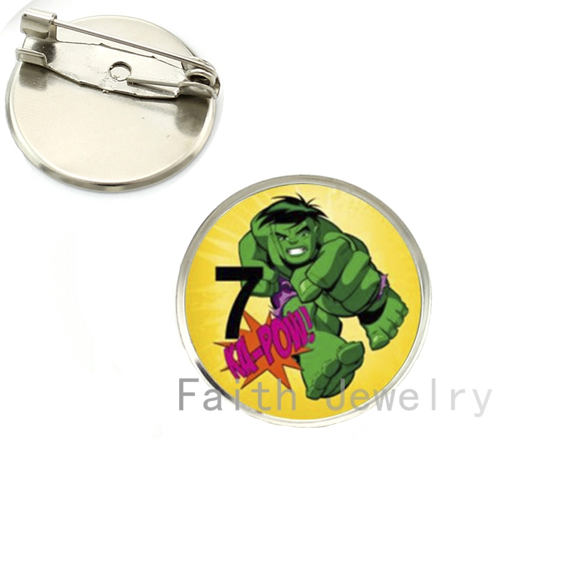 2016 new fashion men jewelry Hulk brooches case for IR Man Captain USA brooch pins glass cabochon dome badge gifts NS184