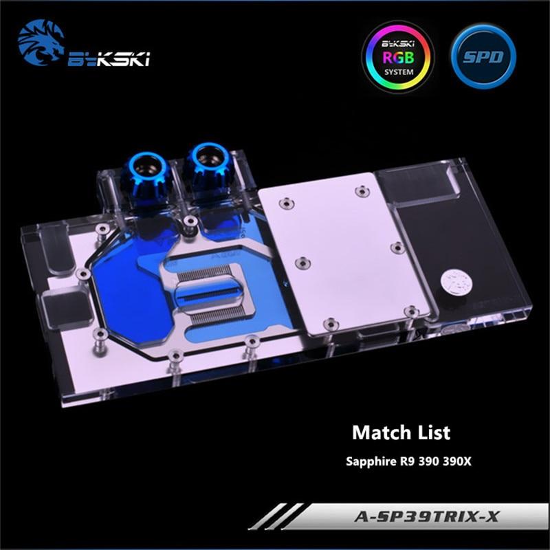 Bykski Full Coverage GPU Water Block For Sapphire R9 390 390X Graphics Card A-SP39Trix-X a as39x x 390 strix r9 390x full coverage water cooled head water jacket