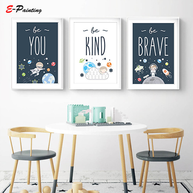 Modern Canvas Art Nursery Prints Wall Picture E Themed Baby Boy Gift Be Brave Kind