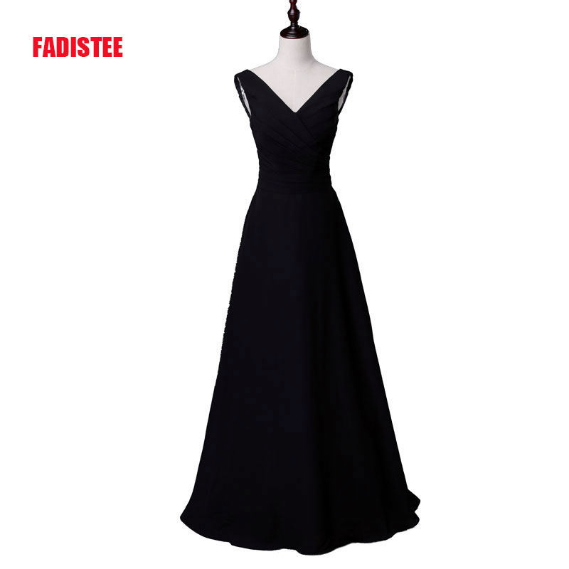 FADISTEE New Arrival Elegant Long Dress Prom Party Dresses A-line V Neck Black Chiffon Formal Dress Evening Black Long Gown