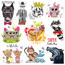 ZOTOONE Stripes Patches Set Iron on Transfer Unicorn Dog for T-shirts Girl Kid Clothing DIY Thermo Stickers Clothes G
