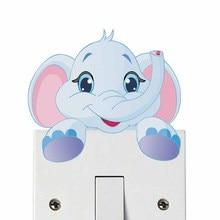 Cartoon Elephant Color Light Switch Wall Sticker For Nursery Baby Bedroom Cute Animal Waterproof Art Decal Wallpaper Home Decor