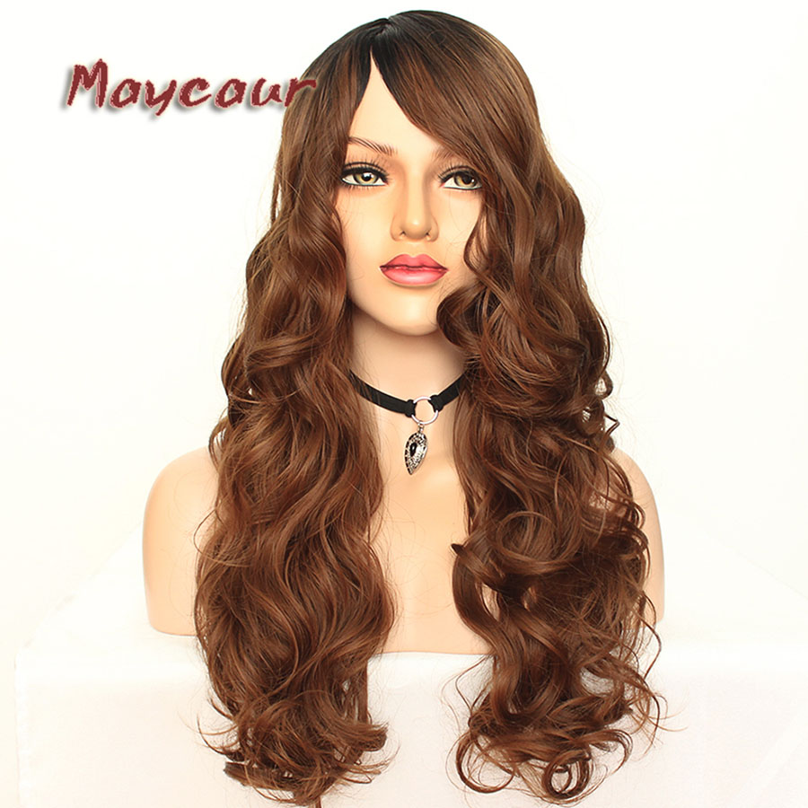 Maycaur Glueless Black Long Wavy Wig with Side Bangs Synthetic Hair Wigs for Women Heat Resistant Fiber Hair Wigs (7)