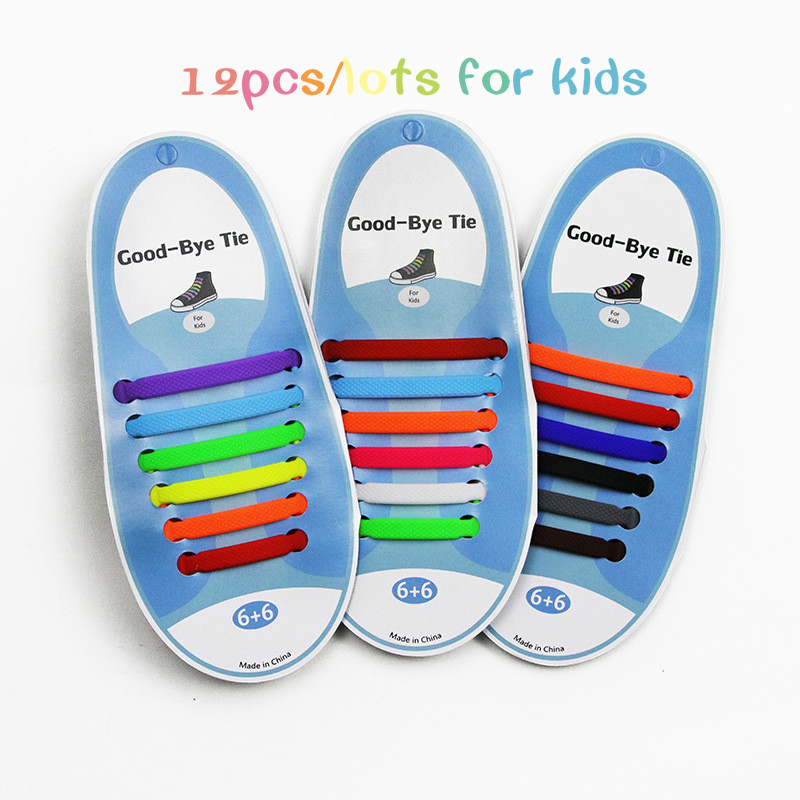 12pcs/lot Children Shoelaces No-tie Shoe Laces Elastic Silicone Lazy Sport Shoes Laces Elastic Silicone Solid Fit All Sneakers