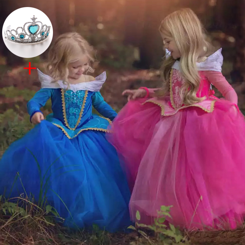 Girls Princess Sleeping Beauty Elsa Cinderella Girl Dress Kids Cosplay Dress Up Halloween Costumes For Kids Tulle Party Dress girl clothing elsa cinderella cosplay princess carnival halloween costume girl party dress beauty beast christmas 4 8 10 years