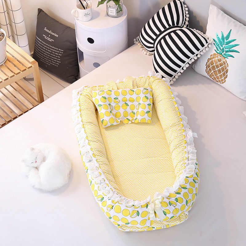 Cuna portátil, nido de bebé, cama plegable para recién nacidos, nido de sueño para guardería con almohada, cuna para bebés, cuna para bebés, cuna para llevar, cuna