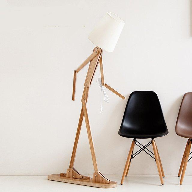 Online Shop Modern Wooden Human Shape Floor Lamps Log Color Rotated