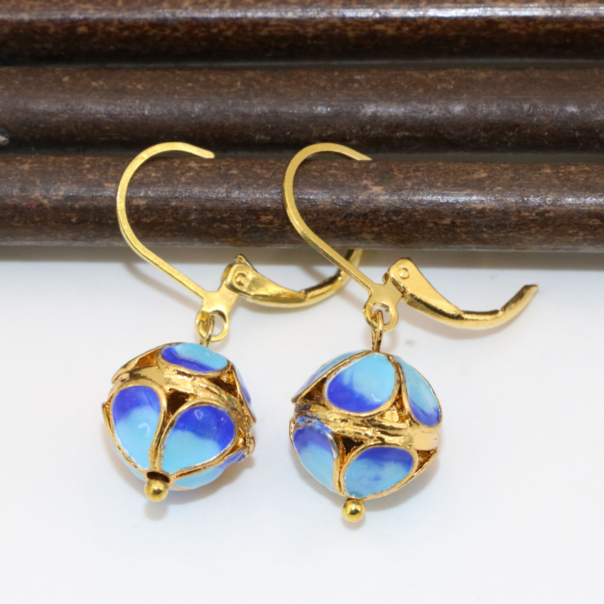 11mm high grade weddings party round ball dangle drop earrings for women gold-color cloisonne original design diy jewelry B2652