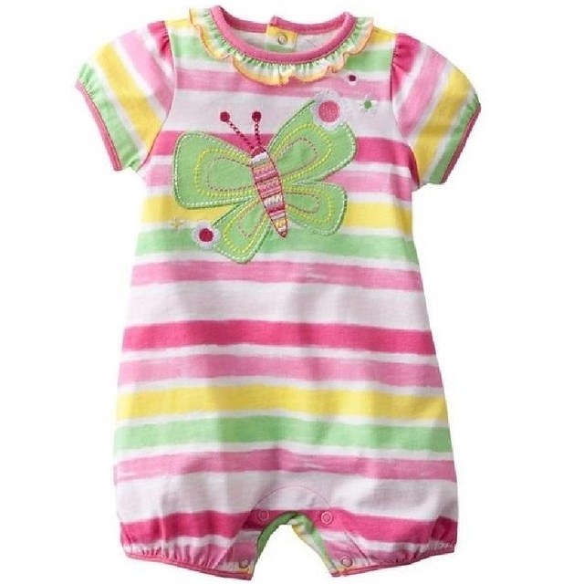 2018 Butterfly Baby Girl Romper Stripe Newborn Clothes Baby Girl