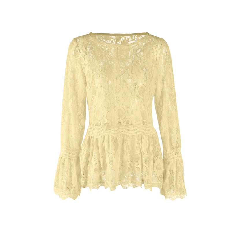 fcee0b0e5acd02 2018 New Autumn Floral Blouse for Women Sex Lace Long Sleeve Casual Yellow  Pink Top Ladies Blouse Loose Blusas Femininas-in Blouses & Shirts from  Women's ...