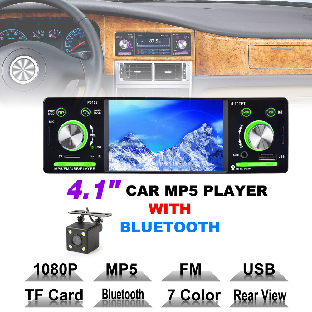 4.1 Inch 1 Din HD Bluetooth Car Stereo Radio Auto MP3 MP5 Audio Player Support USB FM TF AUX + Backup Reverse Rearview Camera цена