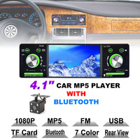 4.1 Inch 1 Din HD Bluetooth Car Stereo Radio Auto MP3 MP5 Audio Player Support USB FM TF AUX + Backup Reverse Rearview Camera