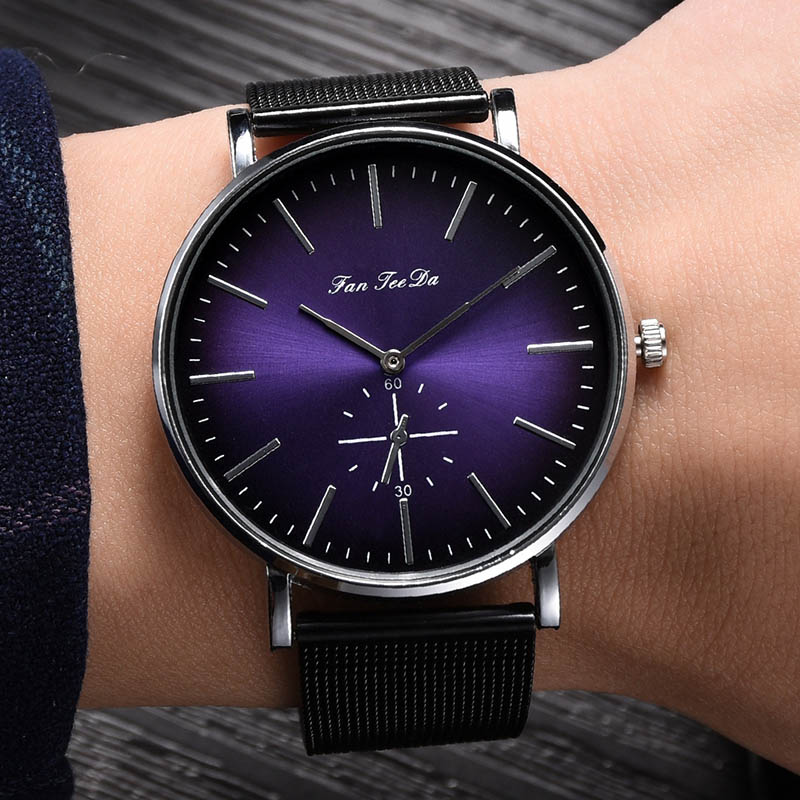 Hot Selling Men Quartz Watches Green Purple Round Dial With Mesh Alloy Strap LL@17